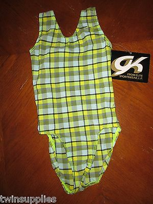 New Gk Elite Green Sportswear Girl's Size Cxs 2-4 Tank Style Gymnastic Leotard