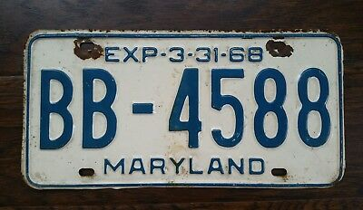 1968 MARYLAND Blue on White LICENSE PLATE TAG # BB-4588 Terps Ravens