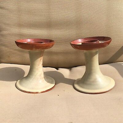 Hand Turned Pottery Candlestick Pair Rocky Mount North Carolina