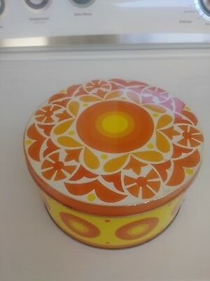 vintage 60s 70s psychedelic tin orange yellow groovy retro canister