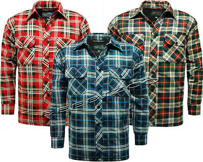 New Mens Warm Padded Quilted Thick Lumberjack Check Work Shirt Jacket M - 5XL