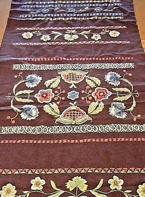 Antique Runner Arts and Crafts Hand Embroidered Wool Table Cover Flowers