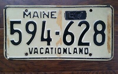 1967 MAINE Vacationland License Plate TAG # 594-628 WITH 67 Metal TAG Lobster