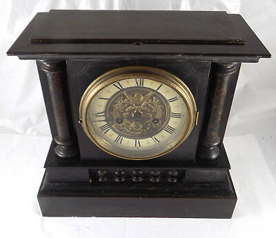 Antique Wooden Case Striking Mantel Clock - Ornate Dial - Spares Or Repair