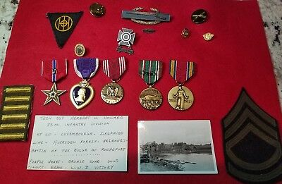 Group Of ISSUED WW2 Military Medals Purple Heart Bronze Star Good Conduct & MORE