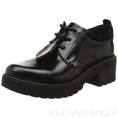 Kickers Kickmando Lace up Ladies/Girls Shoes/Boots Black Patent Leather Size UK5