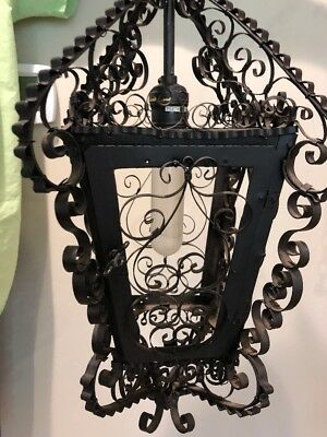 VINTAGE Wrought Iron Swag Lantern Lamp with Hanging Chain Scrolling IRON black