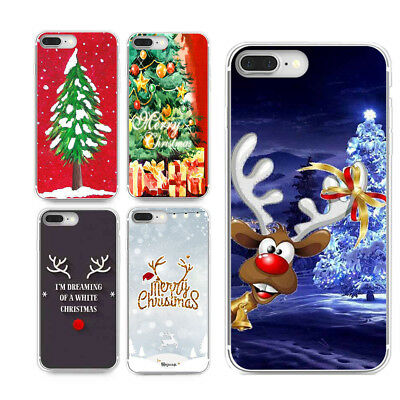 Christmas Ultra Slim Rubber Soft TPU Silicone Back Case Cover for iPhone Samsung
