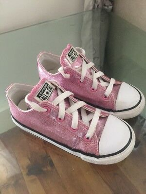 Converse High Top Trainers Infant Sz 10 Uk Pink Glitter Good Condition