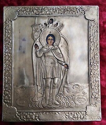 Old Orthodox 19th century silver, hand-painted icon of the St Archangel Michael