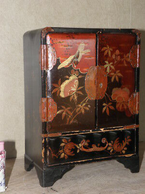 retro CABINET ORIENTAL Cupboard CHINESE Asian PAINTED BIRDS SMALL JEWELLERY old