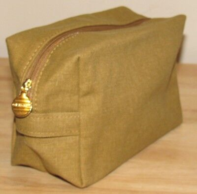 Origins Gold Brown Cosmetic Makeup Bag Canvas NEW Clutch Toiletry Travel Dopp