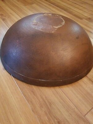 Huge Antique Early 1800S Wood Turned Dough Bowl Old Red Brown Paint