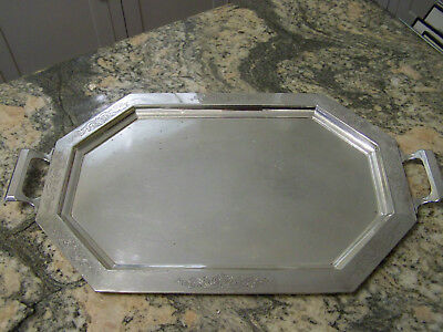 ART DECO HOTEL SILVER HOLLOWARE HANDLED WAITER TRAY SHABBY CHIC FineThings4sale