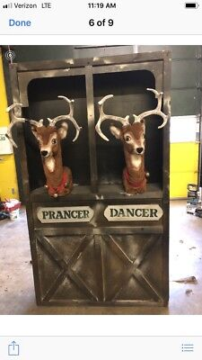Hamberger Animated Reindeer And Stall With Animated Elf On Ladder