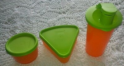 New Tupperware Kids Lunch Set Tumbler , Triangle and Snack Cup Orange and Green