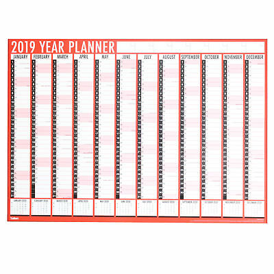 Tallon 2019 A1 84cm x 60cm Large Year Wall Planner( Red ) 8193