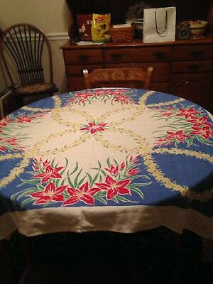 "Vintage 40s 50s Tablecloth Large Red Flowers Simtex 50"" x 46"""