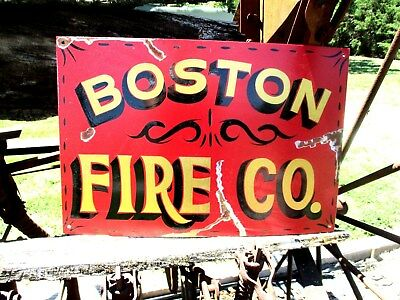 Vintage Rustic Hand Painted BOSTON FIRE CO. Dept Metal Truck Garage Office SIGN