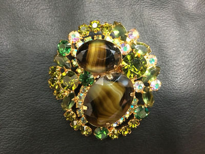 Vintage Brooch Gorgeous JULIANA Covered in Green & Aurora Borealis Rhinestones