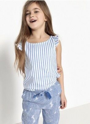 Age 6 Years New La Redoute Striped Girls Vest Top With Ruffle Straps Blue