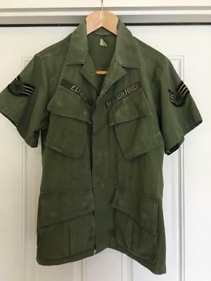 USAF Coat Man's Cotton Wind Resistant Poplin OG-107 Named Theater Made Patches