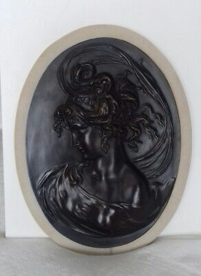 Rare Antique Bronze Oval Wall Plaque South Wind French Maiden Bradley Hubbard
