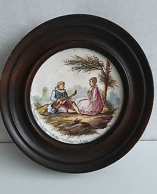 Rare Antique Lille 1765 French Faience Romantic Framed Plate Scaucer