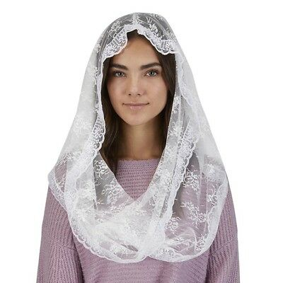 """White Lace Infinity Chapel Veil (D3455) Folded 23"""" L; Front to Back 19"""" L"""