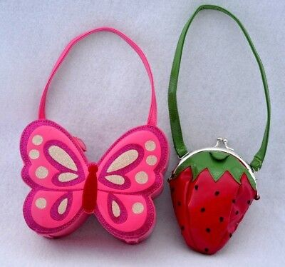 Gymboree Purse Lot Pink Butterfly Red Strawberry glitter embroidery