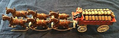 Vintage Cast Iron Budweiser 6 Clydesdale Horse Drawn Beer Cart Wagon W/Barrels