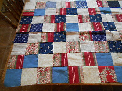 "Vintage Antique Unfinished Quilt Top Piece Cotton Hand Stitch 21"" X 42""  1890s"