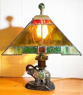 RARE Antique Tiffany Still Lamp Elephant W/ Gold and Other Colors