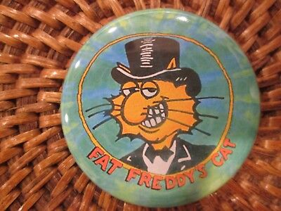 "Fabulous Furry Freak Brothers Fat Freddy's Cat 2"" pin back button new"