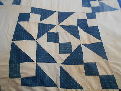 "Vintage Antique Jacobs Ladder Quilt Top Hand Stitched Cotton 77""X90"" 1910s 1920s"