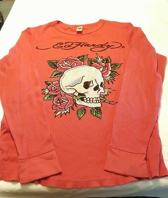 VIntage Ed Hardy XXL Ice Droplet Sequin Skull & Roses Red Long Sleeve Shirt