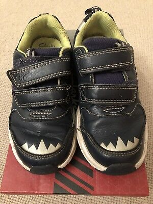 Boys Clark's Navy Blue Trainers, UK 9.5F infant, Pass Rex, Leather, Lights