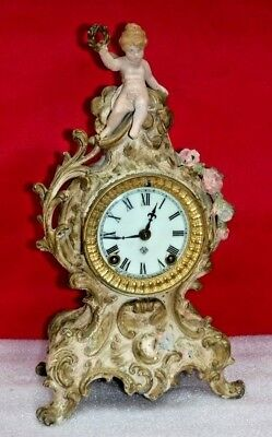 Antique Ansonia Fancy Figural Cherub Mantel Chime Clock 8-Day New York Working