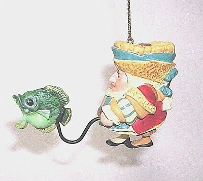 "Merry Fisherman CHRISTMAS TREE ORNAMENT - 2"" tall excellent condition"