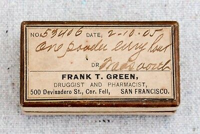 Antique 1905 San Francisco Pharmacy Pharmaceutical Prescription Medicine Box