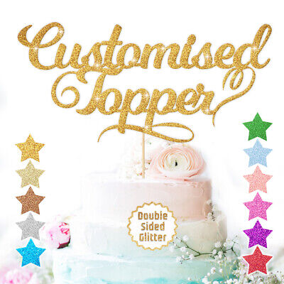 Custom Cake Topper Any Word Name Personalised Customised Double Sided Glitter