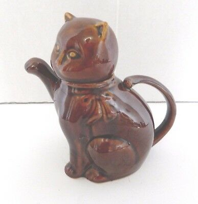 Solid Brown Glazed Ceramic Cat Tea Pot Paw Spout Pour Tail Handle 16 oz