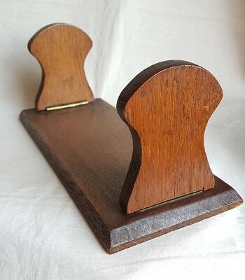 Vintage art deco oak wood collapsible book ends stand slide travel table top
