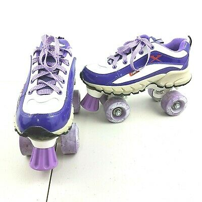 Kids Rollx Roller Skates Smooth Ride Shiny Purple & White Size 39