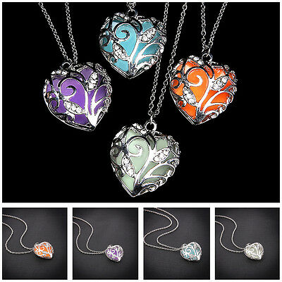 Charm Jewelry Crystal Luminous Heart-Shaped Pendant Necklace 50cm Alloy Chain