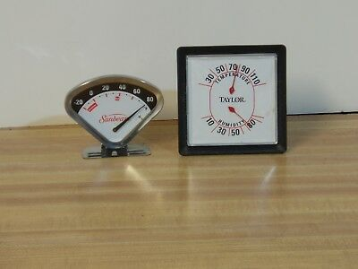 2) Vintage Thermometer Humidity Gauges Sunbeam Triangle Taylor Mid Century