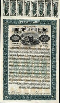 $1000 Philadelphia And Easton Railway Co., Issued Gold Bond, 1904, + 50 Coupons