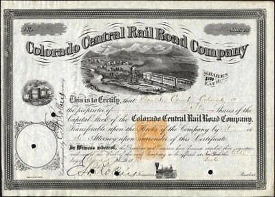 Colorado Central Rail Road Co, 1873, With Imprinted Rev. Issued, Crisp Stock Cft