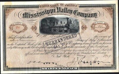 Mississippi Valley Co, 1909, Issued And Cancelled Stock Certificate