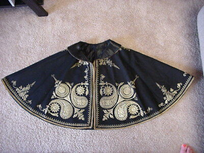 Antique Victorian 1800's Cape Shawl Embroidery Gothic Wool Black Gold Capelet